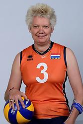06-05-2014 NED: Selectie Nederlands zitvolleybal team vrouwen, Leersum<br /> In sporthal De Binder te Leersum werd het Nederlands team zitvolleybal seizoen 2014-2015 gepresenteerd / Djoke van Marum