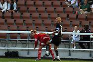 03.08.2003, Finnair Stadium, Helsinki, Finland..Veikkausliiga 2003 / Finnish League 2003.FC Jokerit v FF Jaro.Heikki Haara (Jokerit) v Chris Cleaver (Jaro).©Juha Tamminen