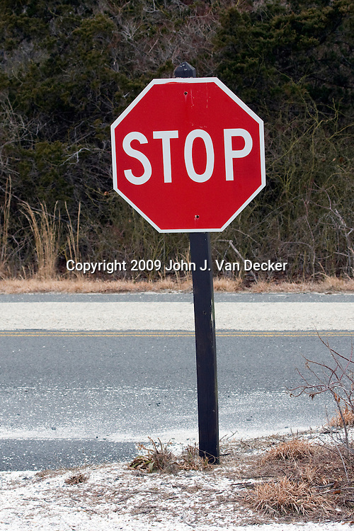 Stop Sign along a coastal road