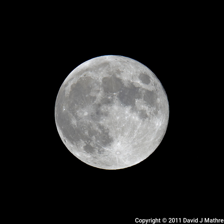 Late Spring Full Moon over New Jersey. Image taken with a Nikon D3x and 600 mm f/4 VR lens (ISO 100, 600 mm, f/11, 1/200 sec) on a Gitzo tripod and Wimberley Head. Raw image processed with Capture One Pro, Focus Magic, and Photoshop CS5