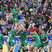 Fans watching a line out during the London Irish Vs Saracens Aviva Premiership Rugby match, the first Premiership game to be played overseas at Red Bull Arena, Harrison, New Jersey. USA. 12th March 2016. Photo Tim Clayton