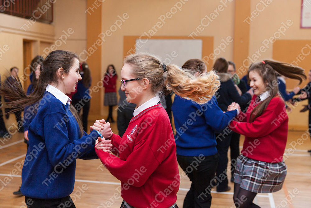 Caitlin McGrath from ClareGalway dancing with Fionnuala Ní Fhalluin from Gael Colaiste