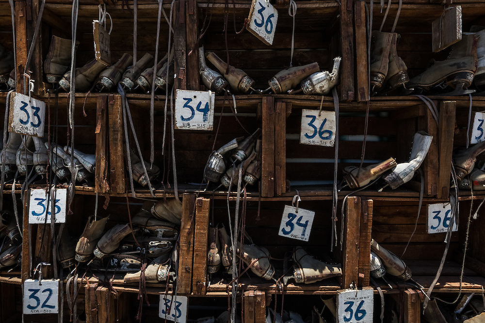 HAVANA, CUBA - JUNE 19, 2015: Ice skates available for use at an artificial ice skating rink built as an art installation for the Havana Biennial art festival by American artist Duke Riley, to represent  the thawing of political tensions between the US and Cuban governments.  PHOTO: Meridith Kohut for The New York Times