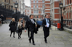 © London News Pictures. 21/11/2011. London, UK.  L to R David Sherborne QC (second from left) and actor Hugh Grant (second from right) arriving at The Royal Courts of Justice today (21/11/2011) to give evidence at the Leveson Inquiry into press standards. The inquiry is being lead by Lord Justice Leveson and is looking into the culture, and practice of the UK press. The Leveson inquiry, which may take a year or more to complete, comes after The News of The World Newspaper was closed following a phone hacking scandal. Photo credit : Ben Cawthra/LNP