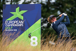 Gleneagles, Scotland, UK; 10 August, 2018.  Day three of European Championships 2018 competition at Gleneagles. Men's and Women's Team Championships Round Robin Group Stage. Four Ball Match Play format.  Pictured; Chloe Leurquin of Belgium on 8th tee in match against Great Britain.