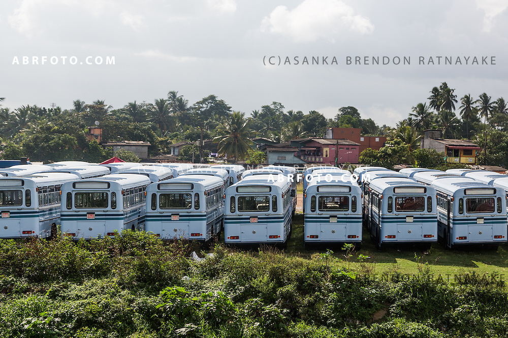 Brand new Lanka Ashok Leyland buses viewed along the Kandy Colombo Train line . The Kandy - Colombo train line is a 110km classic train journey, using the same train lines built by the British originally used to transport tea and coffee it is now popular with both locals and tourists alike given the great views it provides near kandy.