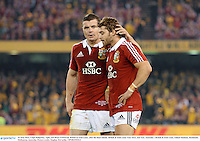 29 June 2013; Leigh Halfpenny, right, and Brian O'Driscoll, British & Irish Lions, after the final whistle. British & Irish Lions Tour 2013, 2nd Test, Australia v British & Irish Lions. Ethiad Stadium, Docklands, Melbourne, Australia. Picture credit: Stephen McCarthy / SPORTSFILE
