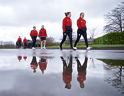 CARDIFF, WALES - Thursday, April 4, 2019: Wales' L-R Ffion Morgan, Elise Hughes, Hayley Ladd and Chloe Lloyd during a pre-match team walk at the Vale Resort ahead of an International Friendly match between Wales and Czech Republic at Rodney Parade. (Pic by David Rawcliffe/Propaganda)