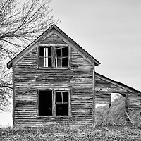 Timber framed dwelling now derelict in USA