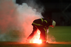 Fire at 1st football game of 2nd Qualifying Round for UEFA Champions league between NK Domzale vs HNK Dinamo Zagreb, on July 30, 2008, in Domzale, Slovenia. Dinamo won 3:0. (Photo by Vid Ponikvar / Sportal Images)