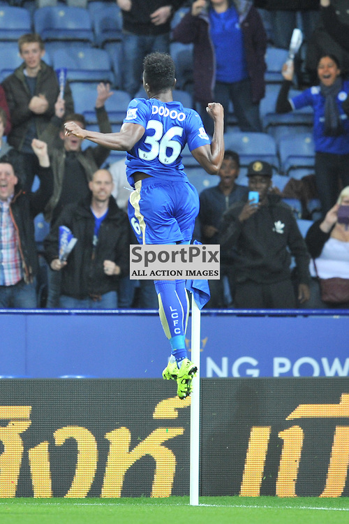 Leicesters Joe Dodoo Celebrates after scoring for Leicester, Leicester City v West Ham Utd, Carling Cup, King Power Stadium, Tuesday 22nd September 2015.