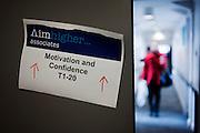 Motivation and Confidence seminar sign inside London Metropolitan University's Holloway Road campus.