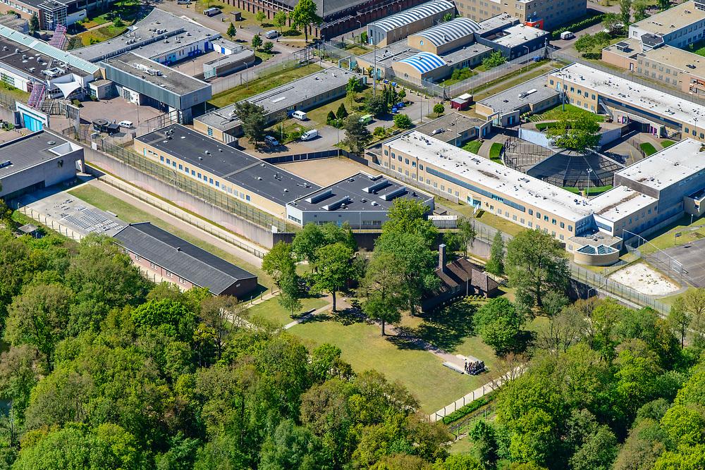 Nederland, Noord-Brabant, Vught, 13-05-2019; historische gebouwen vormen restant van  Kamp Vught, voormalig Duits concentratiekamp - tegen de achtergrond van PI Vught - Penitiaire Inrichting Vught. Monument.<br /> <br /> luchtfoto (toeslag op standard tarieven);<br /> aerial photo (additional fee required);<br /> copyright foto/photo Siebe Swart
