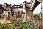 Remains of a mansion that has fallen down in Kanadukathan. Some estimates say around 20 mansions a month are either taken down or fall down. Numbering more than 25,000, Chettinad's mansions were built by a Hindu caste of Chettiars called the Nagarathars. They were bankers and merchants who made their fortunes outside India in Burma, Malaysia, Vietnam and Singapore during the times of the British colonialism. With this new found fortunes they built mansions, exquisite palaces that rivaled those of even the Maharajah's using teak from Burma, marble form Italy, tiles from Japan and steel from England. But these glory days only lasted until after the WWII when the British left Burma and they were forced to leave return to India. Suddenly with no income their mansions began to decay and fall down or were pulled take and the pillars, windows, doors and antiques were sold. Some estimates say that around 20 per month are coming down. Hopefully, with the aid of preservation projects such as the Revive Chettinad Society, and the influx of tourism these mansions can be saved before they all fall down.