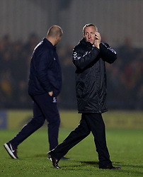Charlton Athletic caretaker manager Lee Bowyer applauds the fans at full time