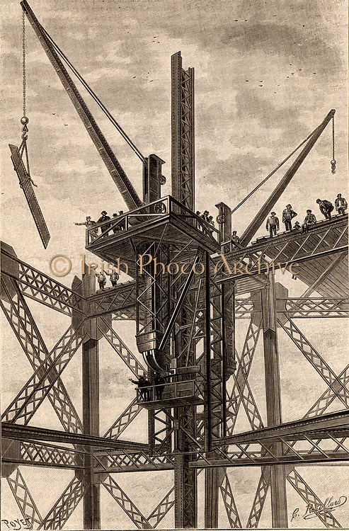 Construction of the Eiffel Tower, Paris, France. A steel girder being lifted into place with a crane.  From 'La Nature' (Paris, 1889).