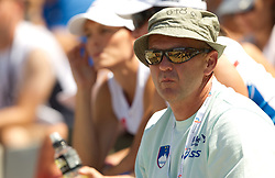 Gorazd Rajher, coach of Nina Kolaric of Slovenia when she competes in the Womens Long Jump Qualifying during day one of the 20th European Athletics Championships at the Olympic Stadium on July 27, 2010 in Barcelona, Spain. (Photo by Vid Ponikvar / Sportida)