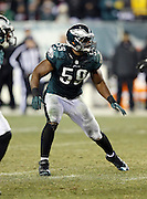 Philadelphia Eagles inside linebacker DeMeco Ryans (59) chases the action during the NFL NFC Wild Card football game against the New Orleans Saints on Saturday, Jan. 4, 2014 in Philadelphia. The Saints won the game 26-24. ©Paul Anthony Spinelli