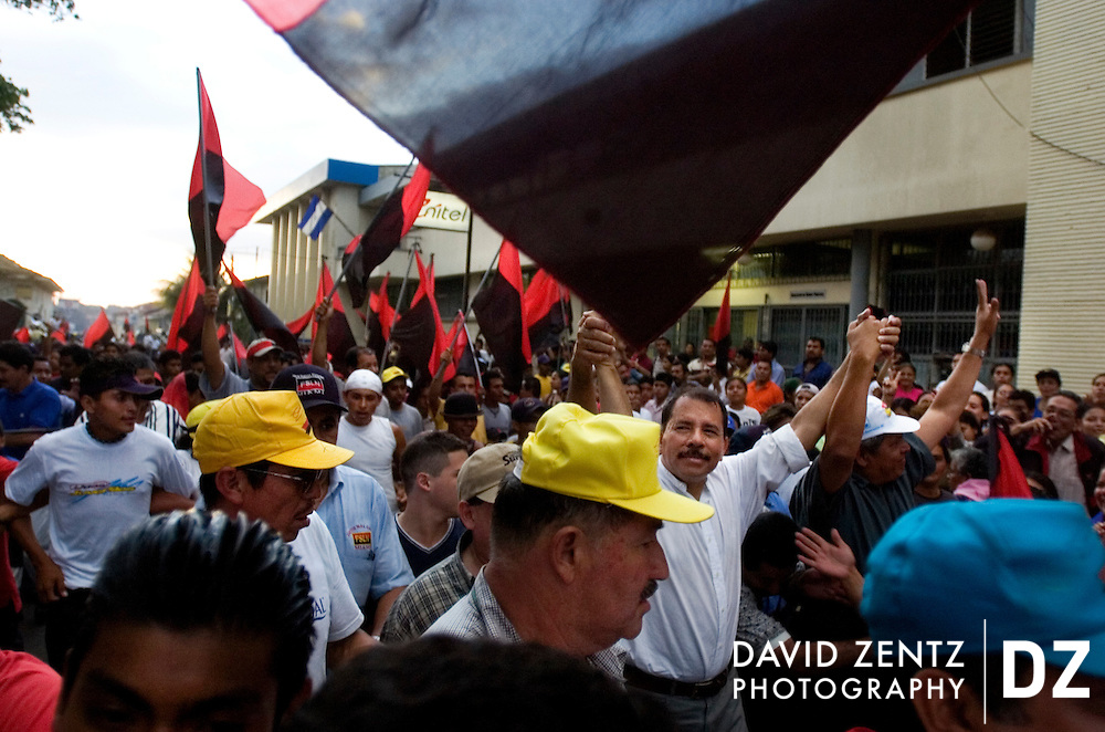 Daniel Ortega is greeted by large crowds of followers during a Sandinista party rally in Jinotepe, Nicaragua on October 1, 2004. The socialist leader was president of the country from 1985-1990 and was reelected again in 2006 after years of more conservative rule.