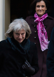 Downing Street, London, January 20th 2015. Ministers leave the weekly cabinet meeting at Downing Street. PICTURED: Home Secretary Theresa May