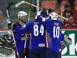 (from left) Ales Kranjc, Andrej Hebar and Dejan Varl of Slovenia celebrate after Manfreda`s goal at ice-hockey game Slovenia vs Slovakia at second game in  Relegation  Round (group G) of IIHF WC 2008 in Halifax, on May 10, 2008 in Metro Center, Halifax, Nova Scotia, Canada. Slovakia won after penalty shots 4:3.  (Photo by Vid Ponikvar / Sportal Images)