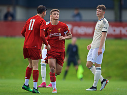 KIRKBY, ENGLAND - Saturday, August 31, 2019: Liverpool's captain Fidel O'Rourke celebrates scoring the second goal during the Under-18 FA Premier League match between Liverpool FC and Manchester United at the Liverpool Academy. (Pic by David Rawcliffe/Propaganda)
