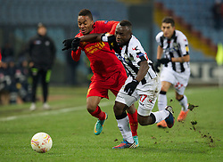 06.12.2012, Stadio Friuli, Udine, ITA, UEFA EL, Udinese Calcio vs FC Liverpool, Gruppe A, im Bild Liverpool's Raheem Sterling in action against Udinese Calcio's Pablo Armero during during the UEFA Europa League group A match between Udinese Calcio and Liverpool FC at the Stadio Friuli, Udinese, Italy on 2012/12/06. EXPA Pictures © 2012, PhotoCredit: EXPA/ Propagandaphoto/ David Rawcliffe..***** ATTENTION - OUT OF ENG, GBR, UK *****