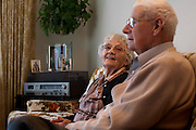 Liz and Tom Collier sit for a moment on their couch and recall the history of their youth and their relationship. They were married seventy-six years ago on Wednesday.  .