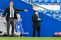 Football - 2019 / 2020 Championship - Play-off semi-final - 1st leg - Cardiff City vs Fulham<br /> <br /> Sulham manager Scott Parker on the touchline<br /> in a match played with no crowd due to Covid 19 coronavirus emergency regulations, in an almost empty ground, at the Cardiff City Stadium<br /> <br /> COLORSPORT/WINSTON BYNORTH