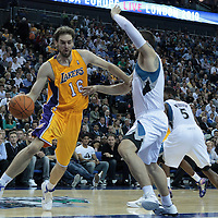 04 October 2010: Los Angeles Lakers forward Pau Gasol #16 is seen during the Minnesota Timberwolves 111-92 victory over the Los Angeles Lakers, during 2010 NBA Europe Live, at the O2 Arena in London, England.