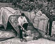 Sarajevo - 23 July 2013 - This is close to Sarajevo's main train station. A small camp at the rear of a building. When work is finished, Valerio, 14 (Ismet's young brother) likes to go there and think about his life.