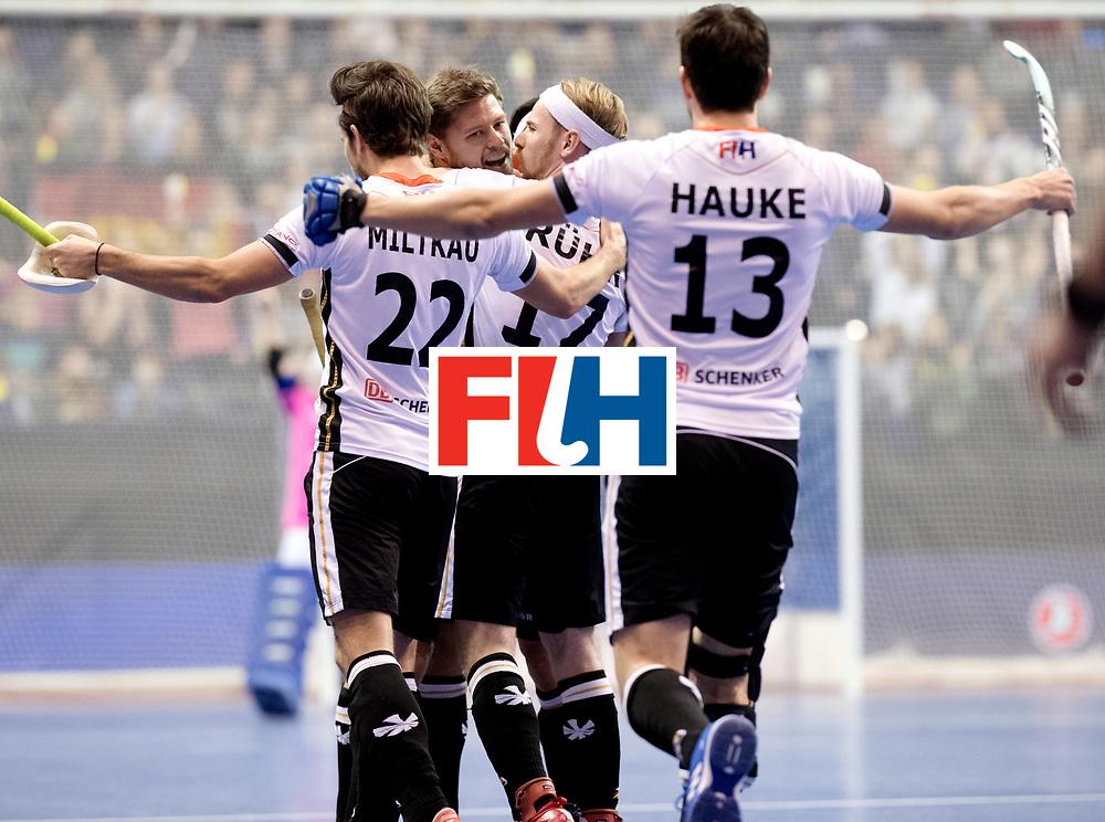BERLIN - Indoor Hockey World Cup<br /> Final: Germany - Austria<br /> foto: Martin H&auml;ner scored the first goal.<br /> WORLDSPORTPICS COPYRIGHT FRANK UIJLENBROEK
