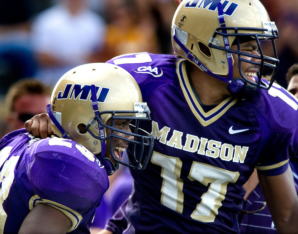 09/13/08-(Harrisonburg).JMU wide receiver Kerby Long (left) and tailback Griff Yancey celebrate following Long's touchdown in the third quarter during Saturday's game against UMass at Bridgeforth Stadium in Harrisonburg..(Pete Marovich/Daily News-Record)