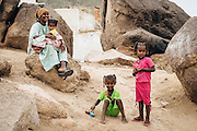 A nubian woman and her three daughters in Heisa Island
