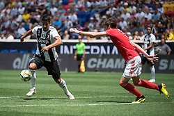 July 28, 2018 - Harrison, New Jersey, United States - Juventus midfielder SAMI KHEDIRA (6) attempts a shot defended by SL Benfica defender GERMÁN CONTI (2) during the International Champions Cup at Red Bull Arena in Harrison, NJ.  Juventes vs Benfica (Credit Image: © Mark Smith via ZUMA Wire)