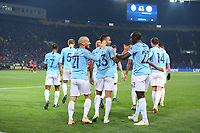 KHARKOV, UKRAINE - OCTOBER 23: Manchester City players celebrate their first goal during the Group F match of the UEFA Champions League between FC Shakhtar Donetsk and Manchester City at Metalist Stadium on October 23, 2018 in Kharkov, Ukraine. (Photo by MB Media/Getty Images)