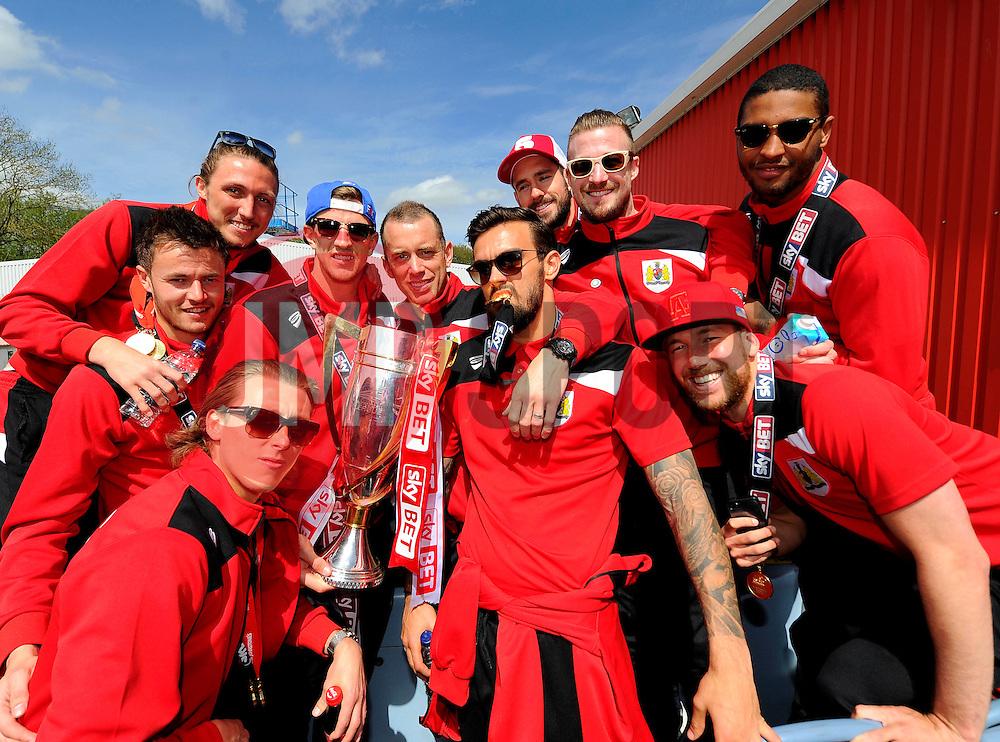 Bristol City players on the top deck of the open top bus tour- Photo mandatory by-line: Joe Meredith/JMP - Mobile: 07966 386802 - 04/05/2015 - SPORT - Football - Bristol -  - Bristol City Celebration Tour