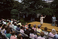 First Lady Rosalynn Carter speaks at the 25th anniversary of the White House Landscape awards in the Rose Garden of the White House in July 1979<br /> <br /> Photograph by Dennis Brack<br /> bb45