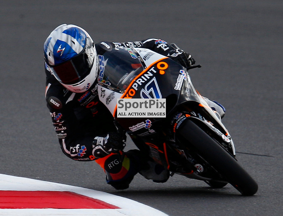 HERTZ BRITISH GRAND PRIX ..John Mcphee on his Saxoprint-RTG Honda riding in the Moto3 first free practice session..(c) STEPHEN LAWSON | SportPix.org.uk