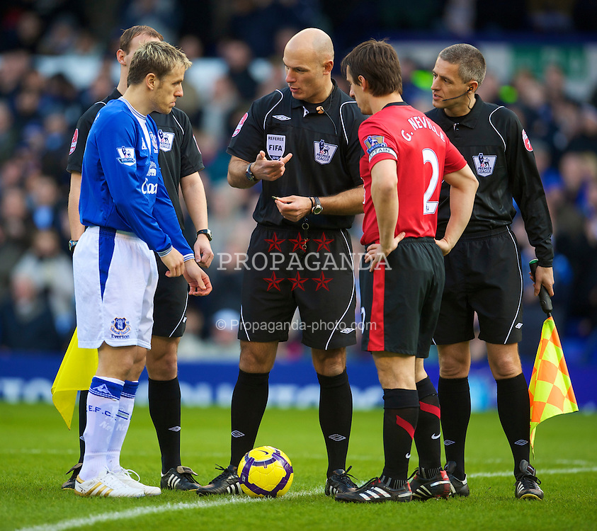 LIVERPOOL, ENGLAND - Saturday, February 20, 2010: Everton's captain Phil Neville and brother, Manchester United's captain Gary Neville before the Premiership match at Goodison Park. (Photo by: David Rawcliffe/Propaganda)
