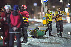 © Licensed to London News Pictures . 26/12/2015 . Salford , UK . Mountain rescue , police and fire crews on Lower Broughton Road as residents were evacuated from surrounding streets following flooding . Photo credit : Joel Goodman/LNP