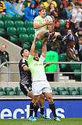 LONDON, ENGLAND - Sunday 11 May 2014, Frankie Horne lifts his teammate, Kwagga Smith, high into the air to catch the ball from kickoff, during the Cup quarter final match between South Africa and New Zealand at the Marriott London Sevens rugby tournament being held at Twickenham Rugby Stadium in London as part of the HSBC Sevens World Series.<br /> Photo by Roger Sedres/ImageSA