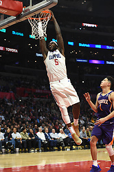 November 28, 2018 - Los Angeles, CA, U.S. - LOS ANGELES, CA - NOVEMBER 28: Los Angeles Clippers Center Montrezl Harrell (5) dunks the ball during an NBA game between the Phoenix Suns and the Los Angeles Clippers on November 28, 2018, at STAPLES Center in Los Angeles, CA. (Photo by Chris Williams/Icon Sportswire) (Credit Image: © Chris Williams/Icon SMI via ZUMA Press)