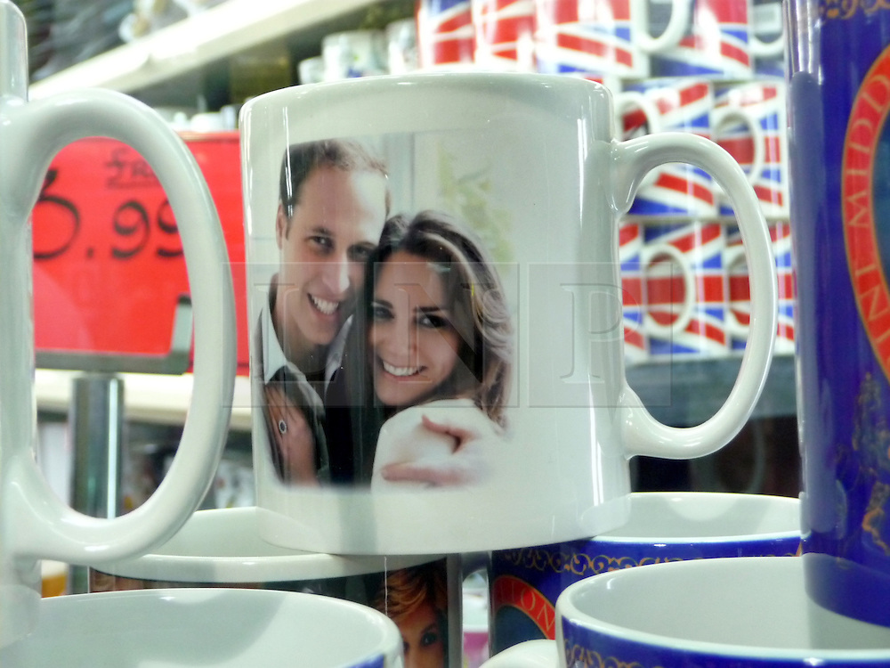 © under license to London News Pictures.  .William and Kate souvenirs ahead of the Royal Wedding in April 2011..Mugs of the Royal Couple showing the Mario Testino engagement photos..Photo credit should read Craig Shepheard / London News Pictures