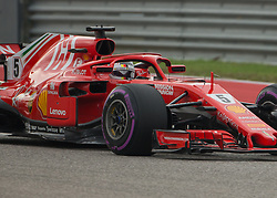 October 20, 2018 - Austin, USA - Scuderia Ferrari driver Sebastian Vettel (5) of Germany heads toward Turn 11 during qualifying at the Formula 1 U.S. Grand Prix at the Circuit of the Americas in Austin, Texas on Saturday, Oct. 20, 2018. Hamilton set a new track record and earned pole position for the Grand Prix on Sunday. (Credit Image: © Scott Coleman/ZUMA Wire)