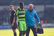 Forest Green Rovers Dale Bennett(6) with physic Ian Weston during the Vanarama National League match between Forest Green Rovers and Guiseley  at the New Lawn, Forest Green, United Kingdom on 22 October 2016. Photo by Shane Healey.