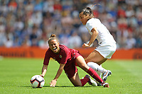 Football - 2019 Womens International Friendly - England Women vs. New Zealand Women<br /> <br /> Englands Nikita Parris is fouled by Ali Riley of New Zealand during the final Lionesses warm up fixture at The Amex Stadium Brighton England<br /> <br /> COLORSPORT/SHAUN BOGGUST