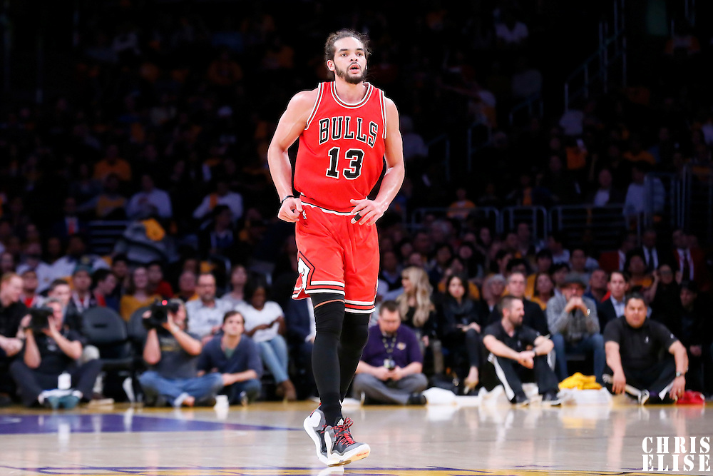 29 January 2015: Chicago Bulls center Joakim Noah (13) is seen on defense during the Los Angeles Lakers 123-118 2OT victory over the Chicago Bulls, at the Staples Center, Los Angeles, California, USA.