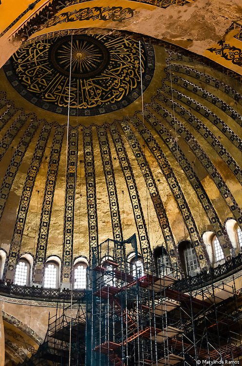 Calligraphy, mostly in the form of verses from the Koran, replaced much of the iconography in the transition from church to mosque.  Here, scaffolding gives the illusion of a path to salvation.