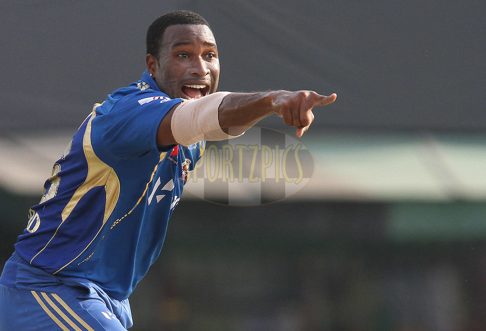 Kieron Pollard of the Mumbai Indians appeals unsuccessfully for LBW during match 33 of the the Indian Premier League (IPL) 2012  between The Kings X1 Punjab and The Mumbai Indians held at the Punjab Cricket Association Stadium, Mohali on the 25th April 2012..Photo by Shaun Roy/IPL/SPORTZPICS